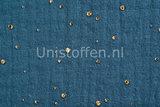 Baumwoll Musselin Glitzer Gold Blau_