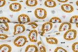 Baumwoll Musselin bedruckt glatt lion ockergelb_