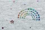 Alpenfleece bedruckt glitzer rainbow dew drop AG79_
