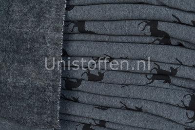 Alpenfleece coupon bedruckt unicorn grau/schwarz