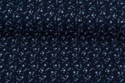 Baumwoll Musselin sweet little flower dunkelblau