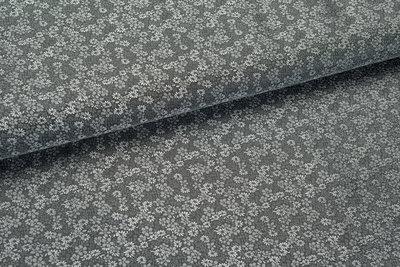 Futterstoff Jacquard Little Flower VO35 dunkelgrau-silbergrau