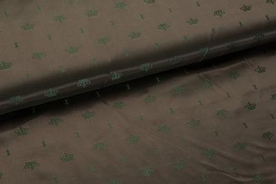Futterstoff Jacquard Kronen VO12 bronze-grün