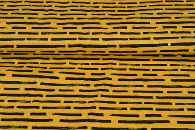 Baumwolle Popeline bedruckt brush stripes ockergelb