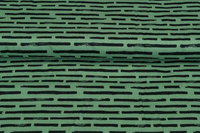 Baumwolle Popeline bedruckt brush stripes grün