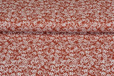 Baumwolle Popeline bedruckt flower rost