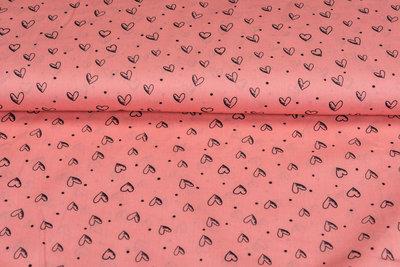 Baumwolle Popeline bedruckt hearts rosa