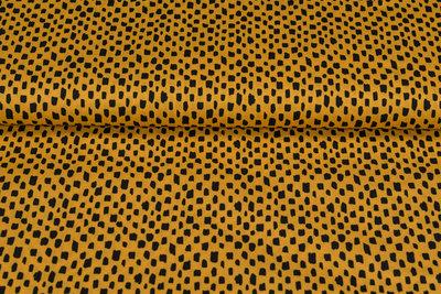 Baumwolle Popeline bedruckt brush pattern ockergelb