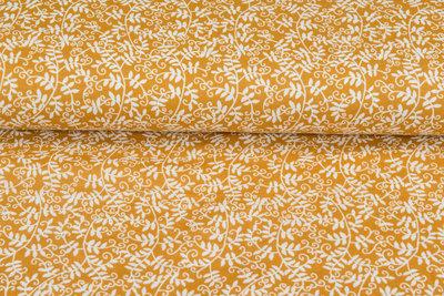 Baumwoll Musselin bedruckt glatt flower ockergelb