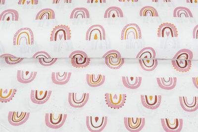 Baumwoll Musselin bedruckt glatt rainbow rosa