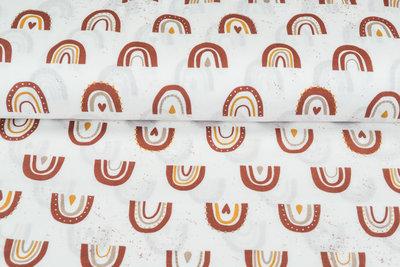 Baumwoll Musselin bedruckt glatt rainbow rost