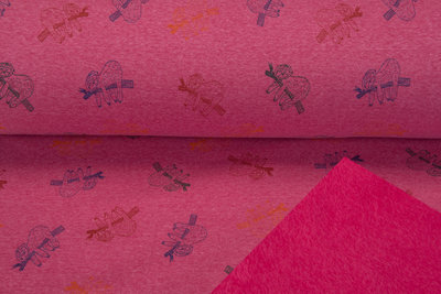 Alpenfleece bedruckt sloth pink meliert NA613