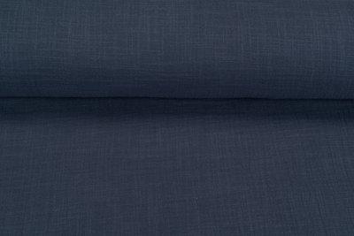 Baumwoll Musselin leinen look blau-grau