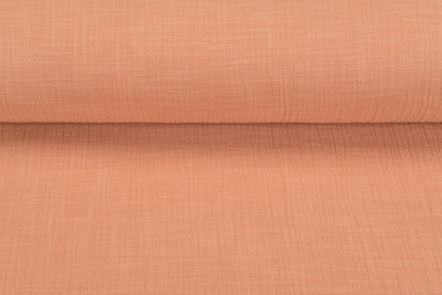 Baumwoll Musselin leinen look pastell orange