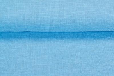 Baumwoll Musselin leinen look hellblau