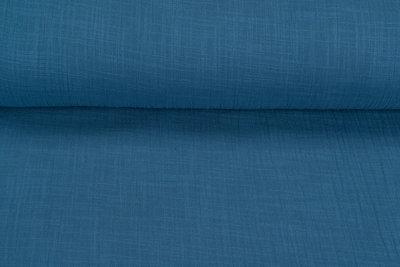 Baumwoll Musselin leinen look metalblau