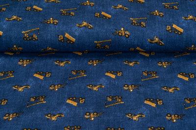 Baumwoll Musselin bedruckt working machines blau