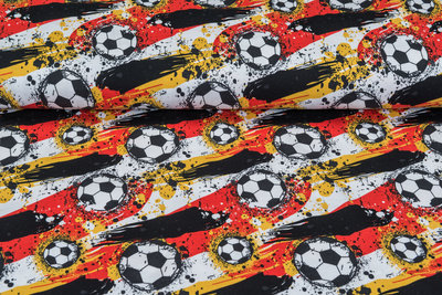 Baumwolljersey bedruckt football schwarz-rot