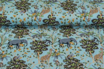 Baumwolljersey bedruckt jungle mintblau