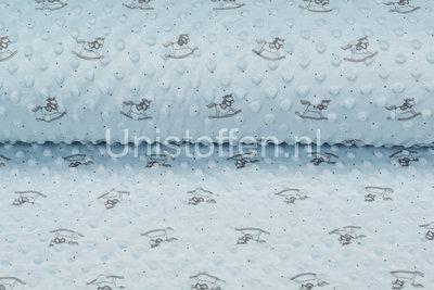 Minky Fleece bedruckt Rocking Horse Hellblau
