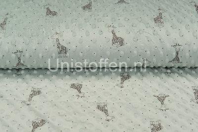 Minky Fleece bedruckt Giraffe Hellgrün/Mint