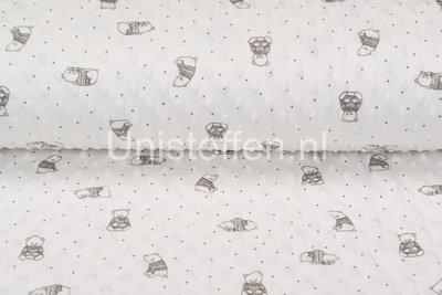 Minky Fleece bedruckt Lovely Bear Off-white
