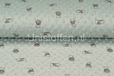 Minky Fleece bedruckt Lovely Bear Hellgrün/Mint