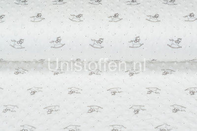 Minky Fleece bedruckt Rocking Horse Off-white