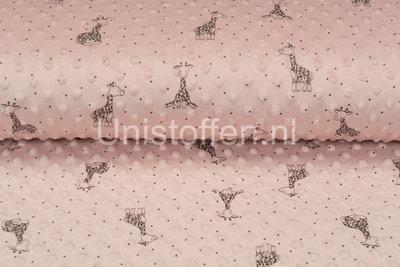 Minky Fleece bedruckt Giraffe Hell Altrosa