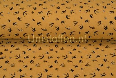 Baumwoll Musselin bedruckt Swallow ockergelb