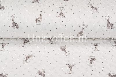 Minky Fleece bedruckt Giraffe Off-white