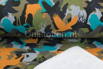 Alpenfleece bedruckt NA208 Camouflage Animals