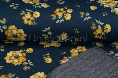 Alpenfleece bedruckt NA369 Denim Flora